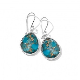 Ippolita Ippolita Rock Candy Sterling Silver Turquoise Bronze Mini Teardrop Earrings