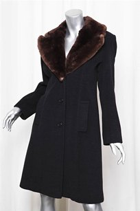 Isaac Mizrahi Womens Charcoalbrown Fur Button Down Knee Jacket Coat