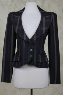 Isabel de Pedro Isabel De Pedro Mr Cat Womens Black Plaid Blazer Jacket