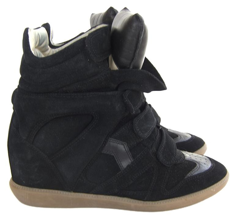 Isabel Marant Black Beckett Leather and Suede Concealed Sneaker Wedges Size US 10 Regular (M, B)