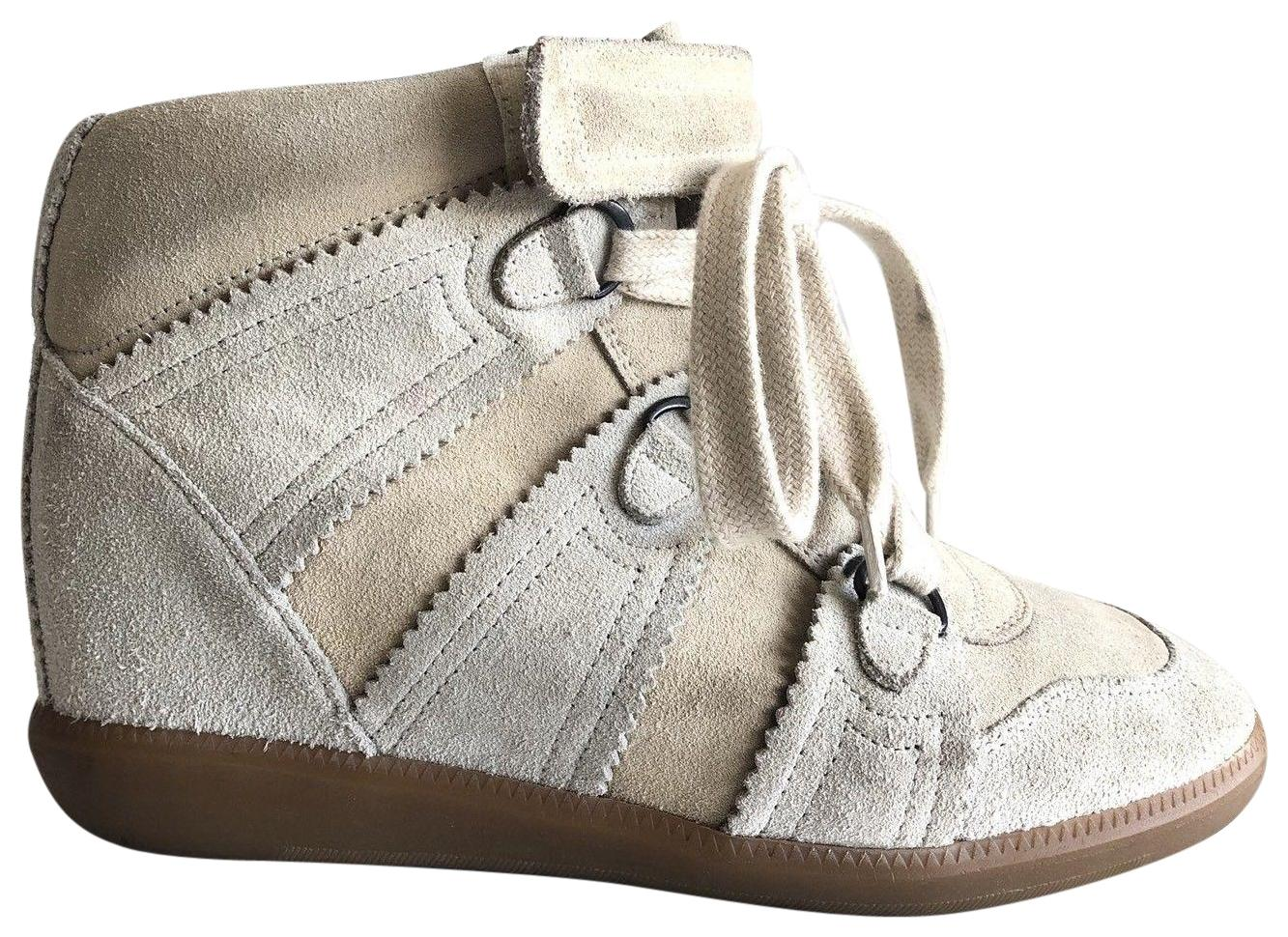 cca76f8e3b12 Isabel Marant Chalk White Bobby Bobby Bobby Suede Wedge Sneakers Boots  Booties Size EU 37 (Approx. US 7) Regular (M