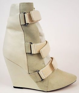 Isabel Marant Runway Leather Suede Pony Hair Wedge Eu39 Ivory Boots