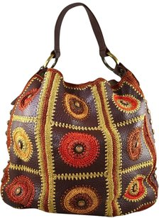 Isabella Fiore Brown Leather Tote in Multi-Color