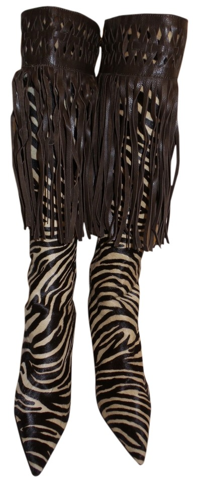 Isabella Fiore 9 Zebra - Brown-beige Celtic Boots/Booties Size US 9 Fiore Regular (M, B) 5b9315