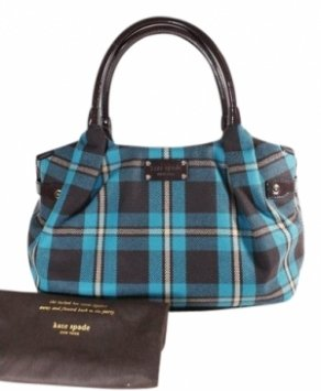 Kate Spade Large Teal Wool Bag - Satchel in teal, plaid