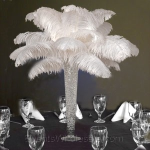 Ostrich Feather Centerpieces Red Black And White