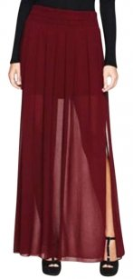 Mango Maxi Sheer Long Maxi Skirt Maroon