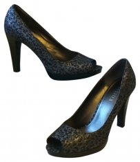 Black and Silver Leopard Pumps