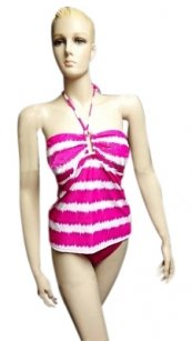 Lauren by Ralph Lauren Halter Pink White 2PC Swim Suit Striped Tankini Se