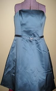 David's Bridal Blue Satin Strapless Rhinestone Belted Dress Dress