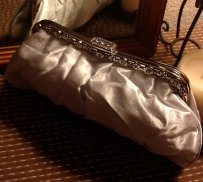 Satin Light Silver Clutch Purse Handbag
