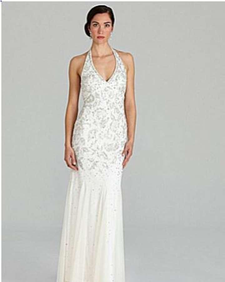 adrianna papell wedding dress papell beaded halter gown wedding dress tradesy 1210