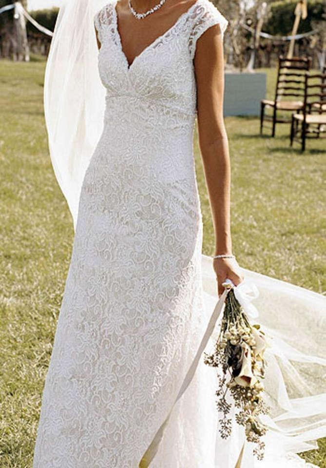 David 39 s bridal t9612 all over beaded lace trumpet gown for All over beaded wedding dress