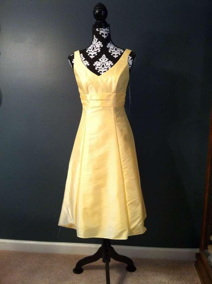 David's Bridal Canary Yellow Tea Length Dress | Tradesy ...
