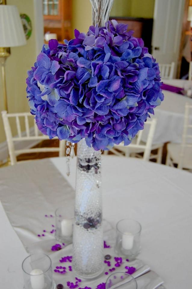 Centerpieces purple hydrangea tradesy weddings