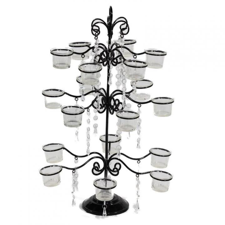 Black crystal candelabra tier tea light ca