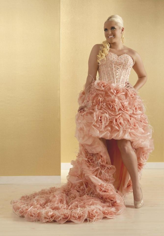 Real Size Bride Valentina plus Size Pink High Low Gown