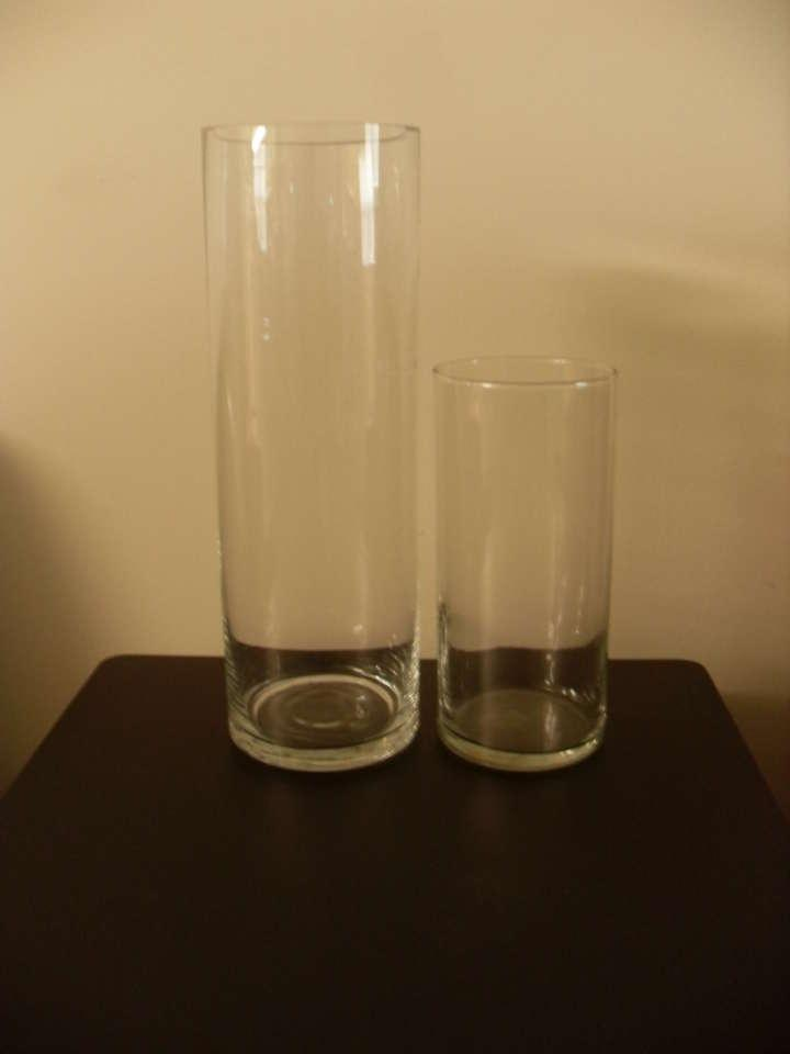 Short glass cylinder centerpiece vases set of