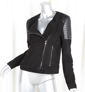 J Brand Womens Leathersuede Black Jacket