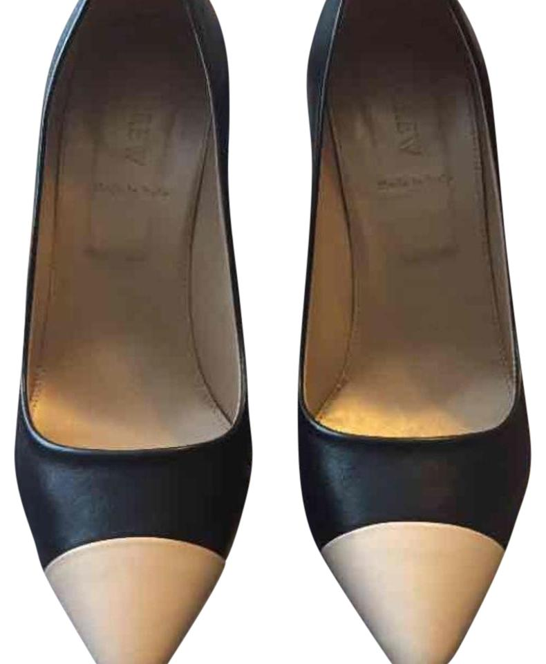 J Crew Black and beige Cap toes Pump Size 8.5 Made in Italy heel high 4""