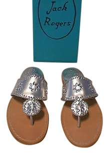 Jack Rogers Enchanted Beaded Detail Metallic Lovely Silver Sandals
