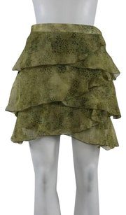 Jack Womens Printed Tiered Above Knee Party Skirt Green