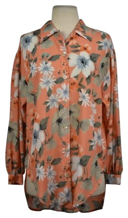 a0132309 low-cost Jaeger Womens Orange Floral Button Down Long Sleeve Casual Top  Shirt
