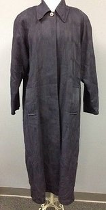Jaeger Vintage Navy Wool Textured Button Front Trench Sma 8210 Trench Coat