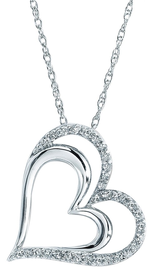 Jared Sterling Silver Diamond Heart 14 Ct Tw Roundcut Necklace