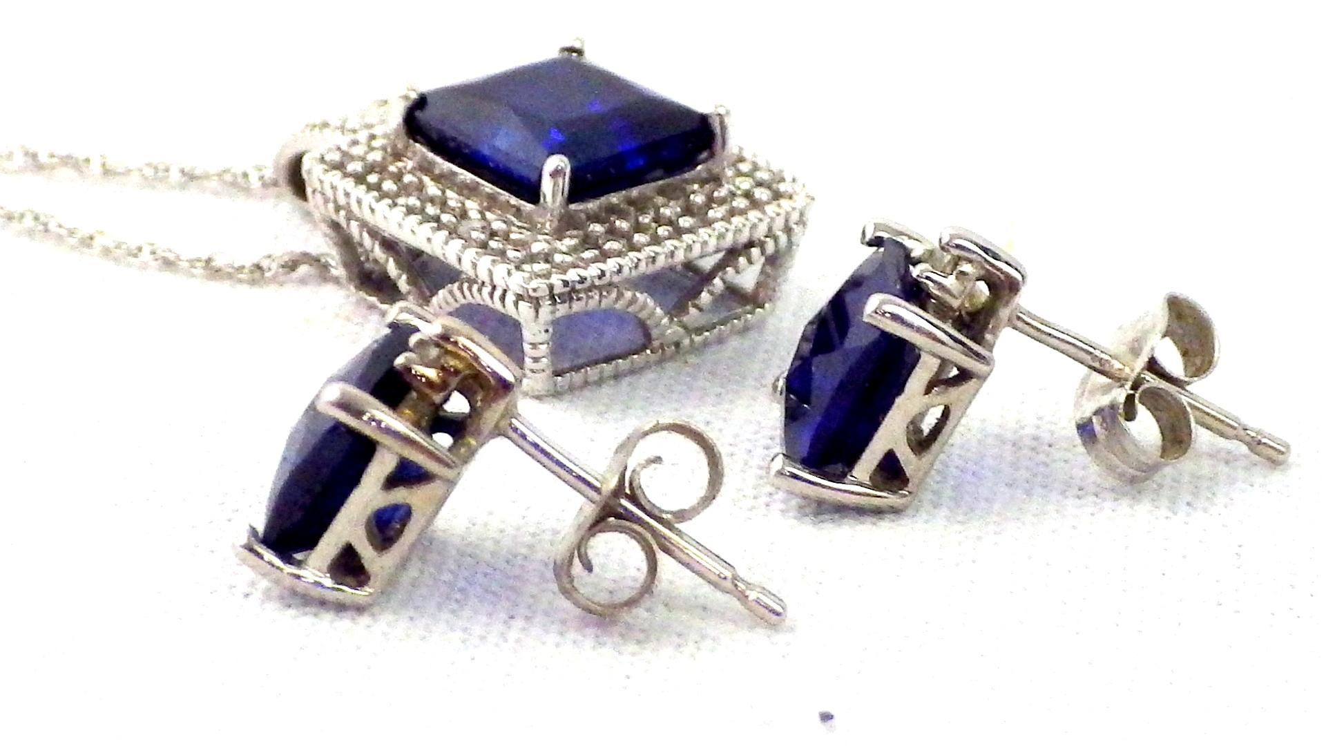 Jared White Gold Diamond Sapphire Set 18k 68 Carat 5 Piece Set