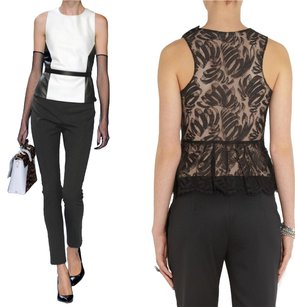 Jason Wu Lace Floral Peplum Leather Monochrome Top Black, White