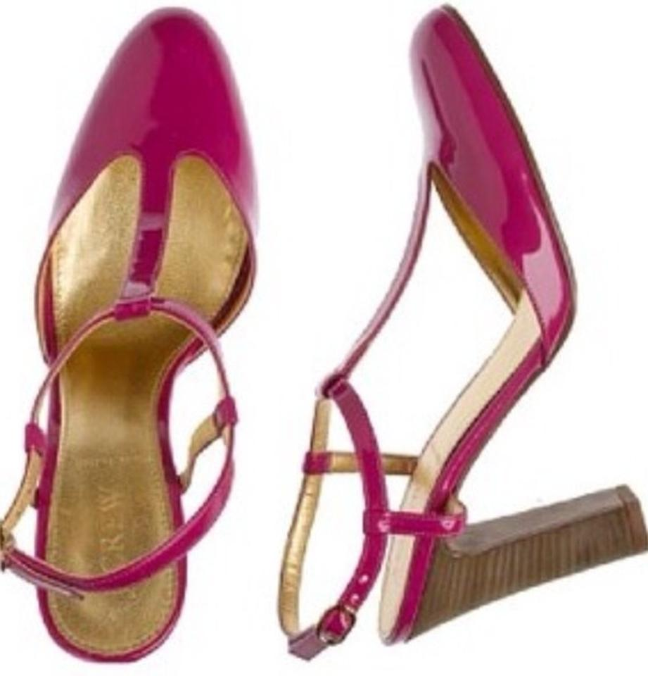 J.Crew Autumn Berry Pink) (Hot Pink) Berry Cleo Patent Leather T-straps Sandals Size US 6 Regular (M, B) 33351a
