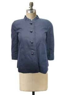 J.Crew Womens Blue Pleated Neck Lined Career Chic 0 Navy Jacket