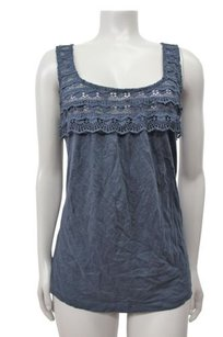 J.Crew Scallop Lace Shell Top Gray