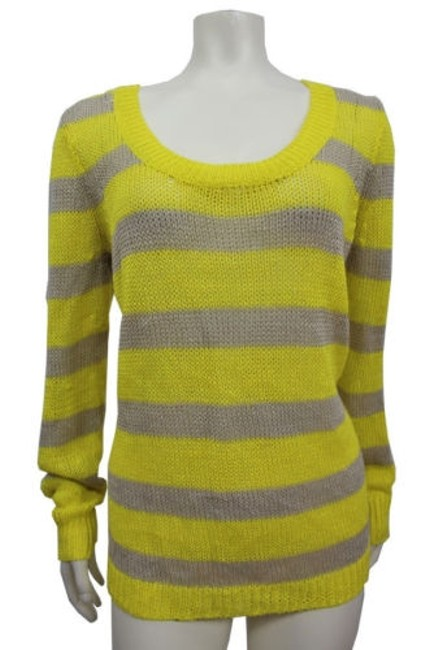 best J.Crew J.crew Stripe Linen Open-stitch Sweater Yellow Taupe