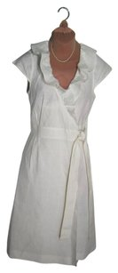 J.Crew short dress WHITE LINEN WRAP DRESS Feminine Nearly Brand New Tailored Ties To The Side Sweet Price on Tradesy