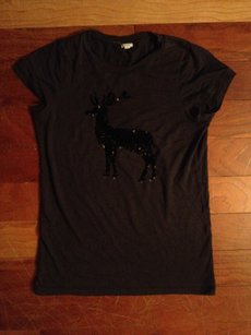 J.Crew T Shirt GRAY BLACK SEQUIN REINDEER TEE SHIRT COTTON