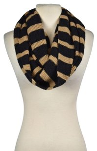 J.Crew J Crew Womens Black Tan Infinity Scarf Os One Striped Wool Casual