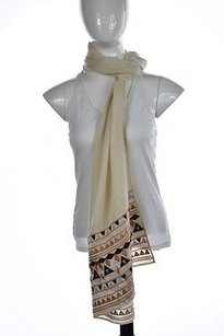 J.Crew J Crew Womens Ivory Maroon Scarf Os Wool Knit Casual