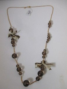 J.Crew J.crew Bronze Glass Bead Tie Dye Bow Gold Chain Layering Necklace