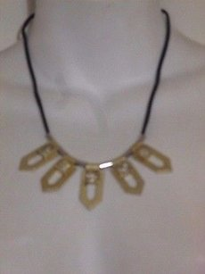 J.Crew J.crew Gold Pyramid Sivler Crystal Cut Out Fan Black Rope Necklace