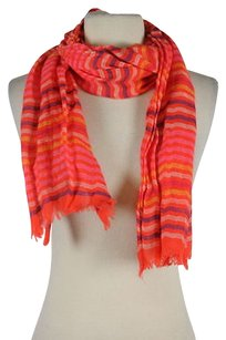 J.Crew J Crew Womens Orange White Striped Scarf 0s Linen