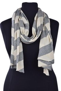 J.Crew J Crew Womens Gray Beige White Scarf Os Speckled Striped Cotton Casual