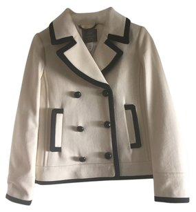 J.Crew Peacoat 100% Wool Beige with Blue Trim Jacket
