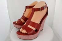 J.Crew Womens Platform Wedge Leather Heels Strappy Red Sandals