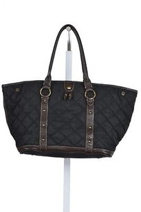J.Crew Womens Quilted Textile Handbag Satchel in Black
