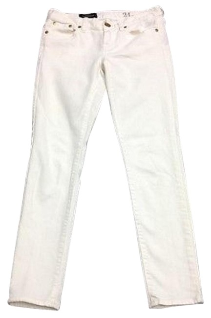J.Crew J Crew White Cotton Flat Front Toothpick Ankle Length Skinny Jeansz Sma12025 85%OFF