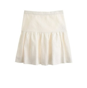 J.Crew Textured Quilted Mini Skirt FRESH CREAM WHITE MATELESSE DROP WAIST SKIRT
