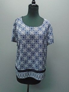 J.Crew J Crew Short Sleeved Top Blue And White