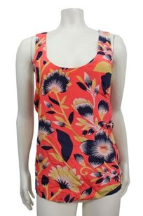 J.Crew In Hibiscus Floral Top coral multi